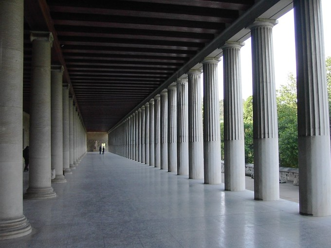 This is a recent photo of the restored Stoa of Attalos. This is a view of the ground-level marble colonnades in the Agora in Athens, Greece.
