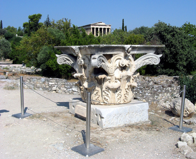 This is a recent photo of a corinthian capital at the Odeon of Agrippa, in the Agora at Athens, Greece.