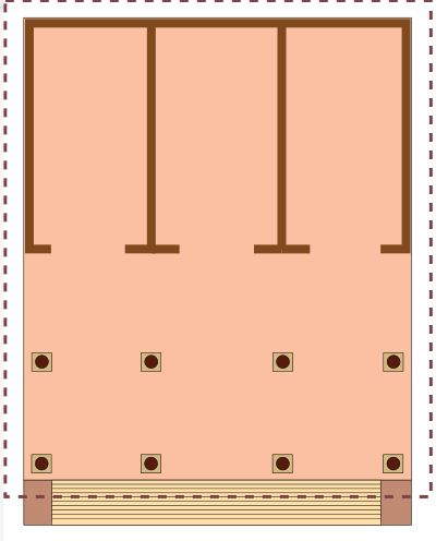 This is a drawing of the ground plan for an Etruscan temple. It shows the triple cella.