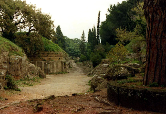 This is a photo of the Banditaccia Necropolis in Cerveteri, Italy.