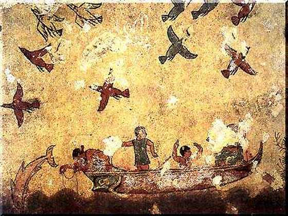 This is a photo from the Tomb of Hunting and Fishing. It shows a fresco depicting an assortment of birds flying in the sky over several fishermen in a boat.