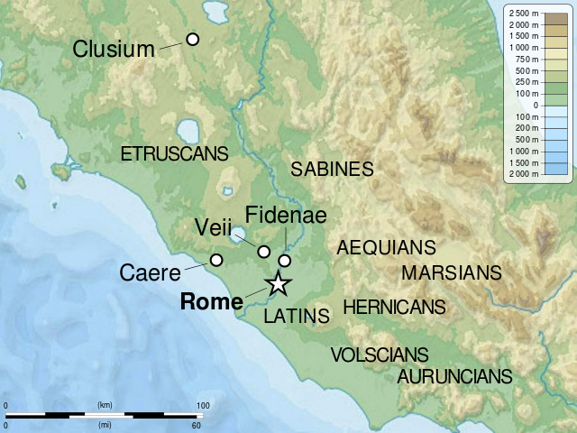 This map shows the locations of the tribes who settled Rome.
