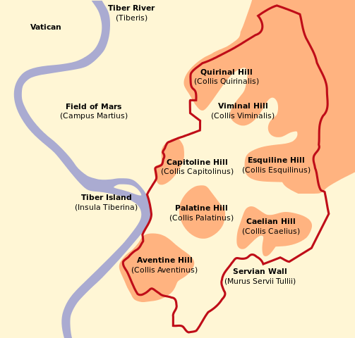 This is a schematic map of Rome that shows the Seven Hills.
