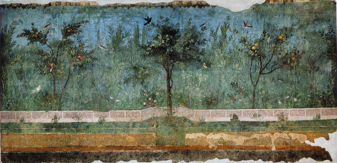 This photo is taken in the Villa of Livia showing a second-style painting. It creates the illusion of overlooking a garden vista with trees and a fence in the distance.