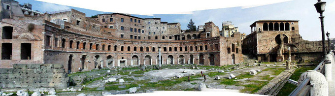 This photo shows the ruins of the Trajan's Markets.