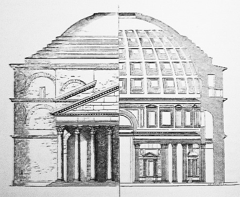 This is an elevation drawing of the Pantheon. Elevation views show materials, texture profiles of the building, and heights of and between elements like windows and detailing.