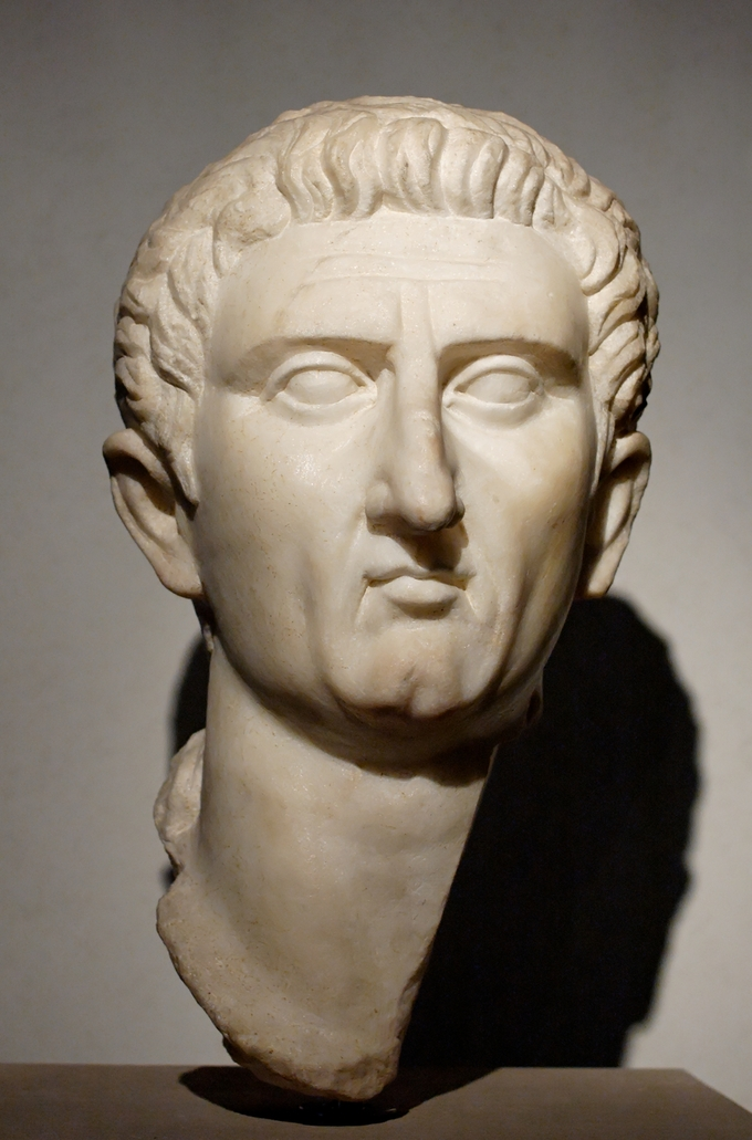 This is a photo of a bust of Nerva. It shows his hair pushed back from his forehead. He has a sharp, narrow nose.