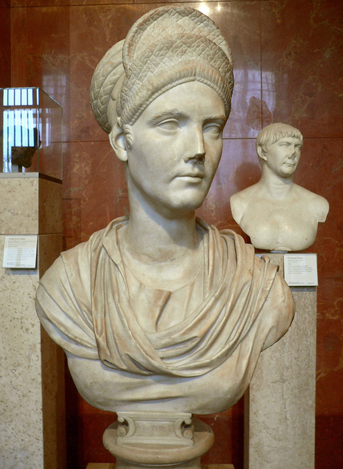 This photo shows a bust of Matidia. It shows the hairstyle she established, a stack of braids resembling a crown.