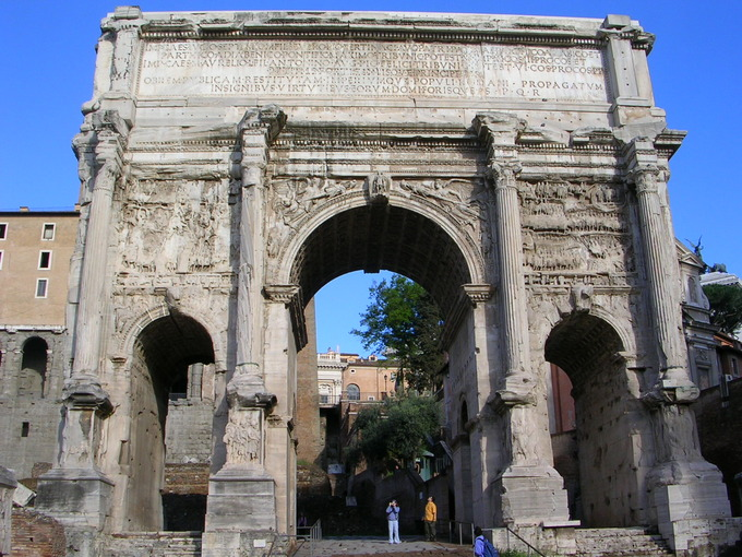 This is a current-day photo of the Roman Arch of Septimius Severus.