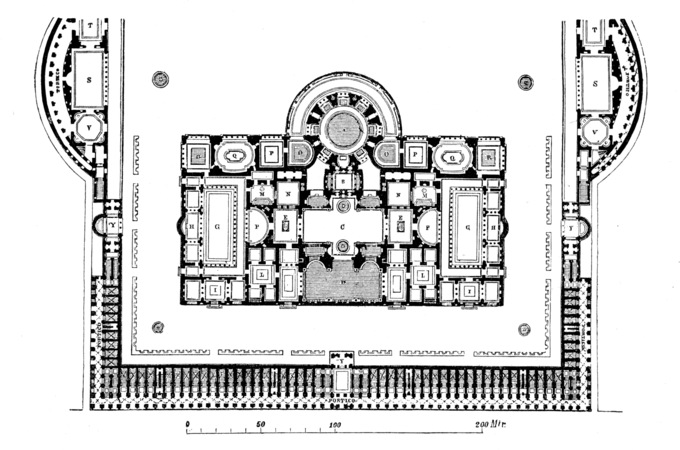 This is a diagram of the Baths of Caracalla. It shows the main entrance, the great court, and the baths themselves, consisting of a central frigidarium (cold room) under three groin vaults, a double pool tepidarium, and a caldarium (hot room), as well as two palaestras (gyms where wrestling and boxing were practiced). The north end of the bath building contained a natatio or swimming pool.