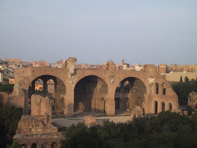 This is a photo of the Basilica Nova as it stands today in Rome, Italy. It shows the three arches.