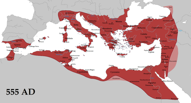 This map shows the Byzantine Empire at its height. In includes much of the historically Roman western Mediterranean coast, including North Africa, Italy, and Rome, all of which are colored red on this map.