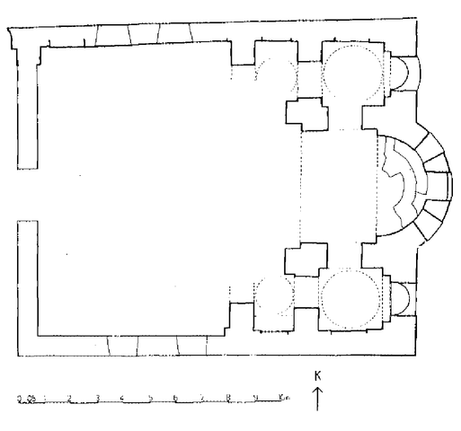 This is the ground plan of the katholikon church of the Pelekete monastery. It shows an irregular rectangular layout with an apse at the east end.