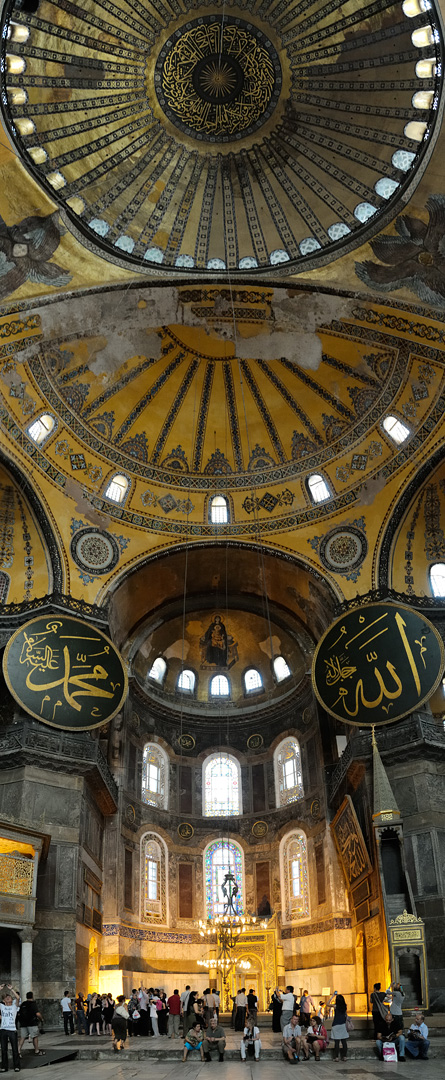 This photo shows an interior view of Hagia Sophia as described previously.