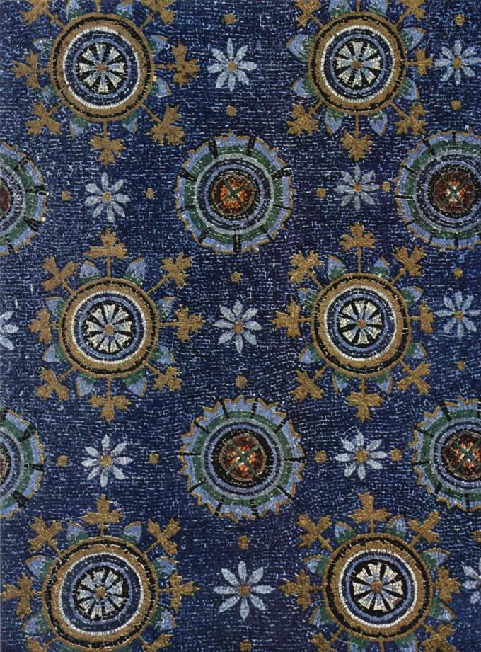 This is a closeup photo of a ceiling mosaic at the mausoleum of Galla Placidia.