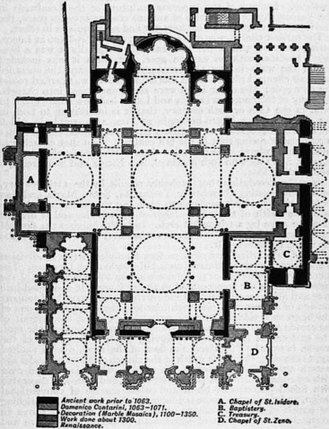 This is a schematic plan of St. Mark's Basilica. It shows five large domes.