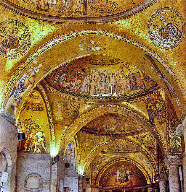 This photo shows the interior of St. Mark's Basilica in Venice, Italy.