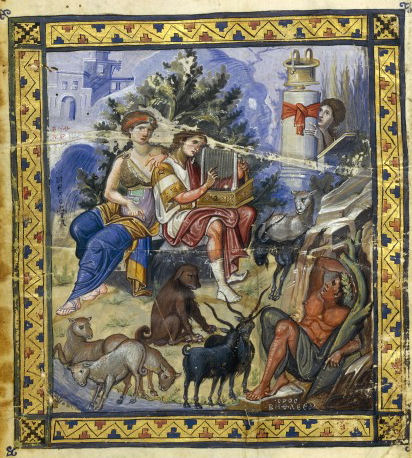 This photo shows a painting from the Paris Psalter that depicts David composing on his harp.