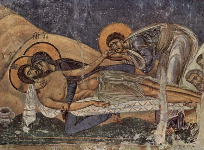 This photo shows the detail of the Lamentation of Christ.