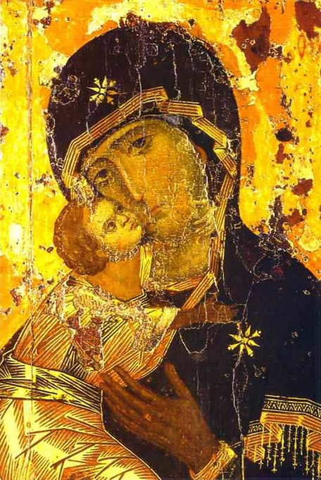 This photo shows the Theotokos of Vladimir. This new style of icons depict emotion, compassion, and the growing trend in spirituality.