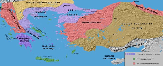 This is a map that shows the division of the Byzantine Empire after its sacking in 1204.