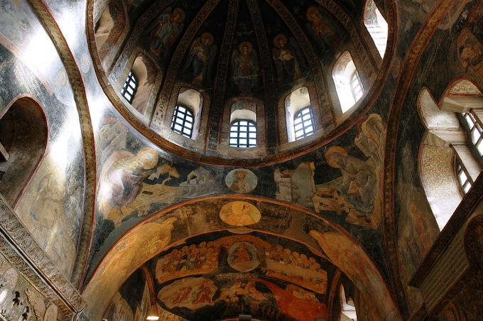This photo shows fresco scenes from the lives of the Virgin Mary and Christ.