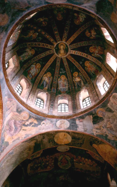 This is a photo of a fresco in a dome in the parecclesion.