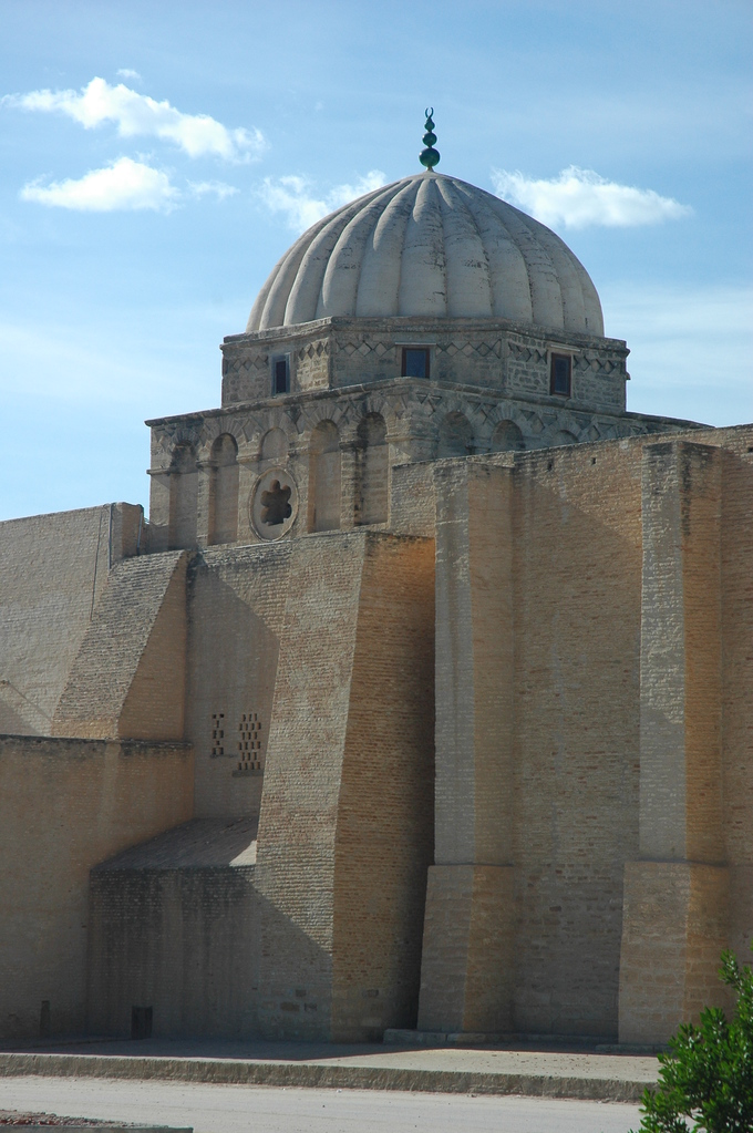 This is a current-day photo of the dome of the mihrab (ninth century) in the Great Mosque of Kairouan.