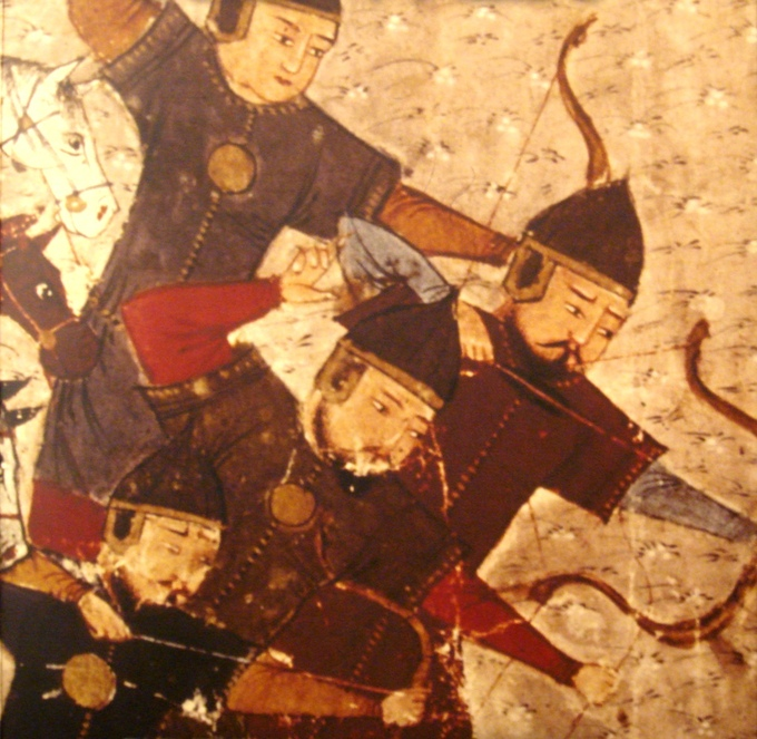 This is a photo of a painting of Mongol soldiers. It depicts four soldiers armed with bows.