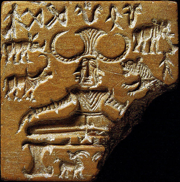 This photo shows a closeup of the seal called Pashupati.