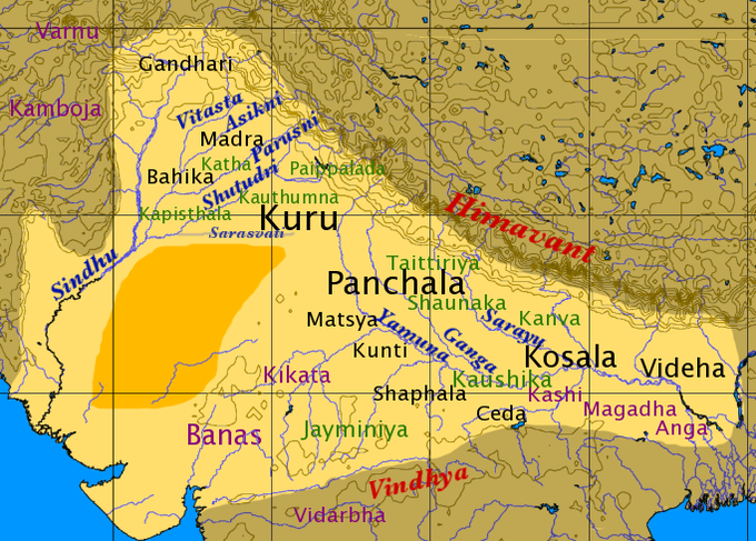 This is a map of northen India in the later Vedic Period.