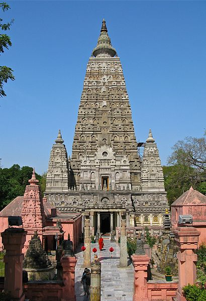 This is a current-day photo of the Mahabodhi Temple, a tall pyramidal temple built that exemplifies early Indian brick construction.