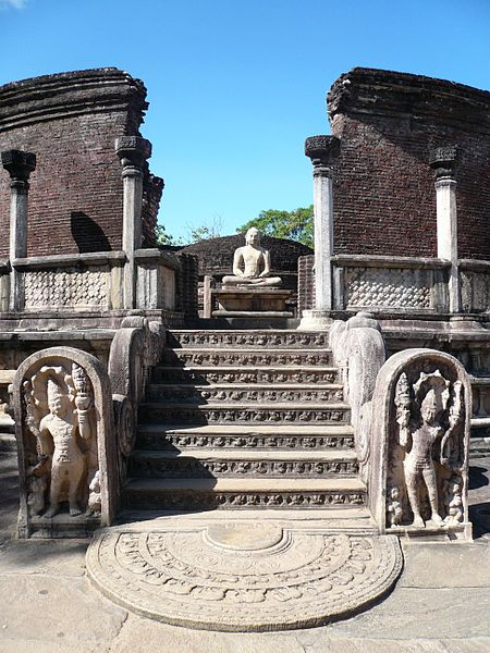 This photo shows a vatadage in the ancient city of Polonnaruwa, Sri Lanka.
