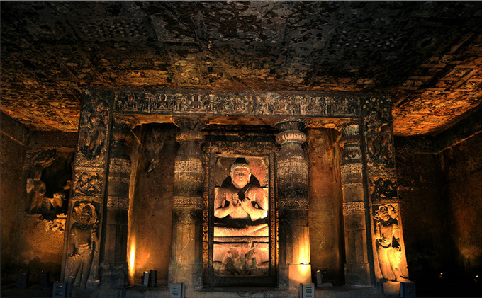 This photo shows the interior of the Ajanta Cave.