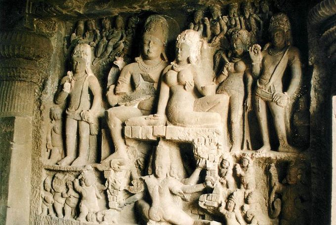 This is a photo of a wall in the Ellora Cave.