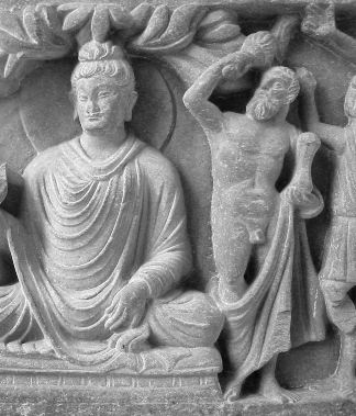 This is a black and white photograph of Buddha Herakles.