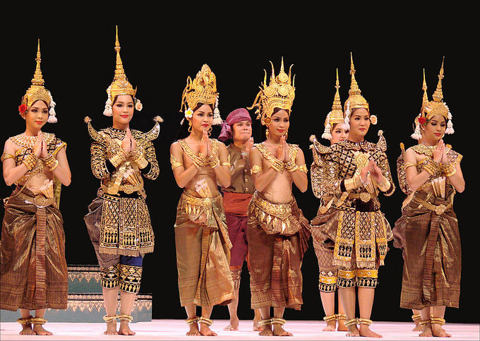 This current-day photo shows the Royal Ballet of Cambodia at curtain call.