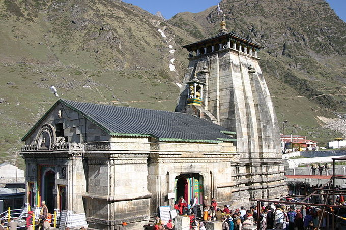 This is a current-day photo of Kedarnath Temple, dedicated to Shiva, in Kedarnath, Uttarakhand.