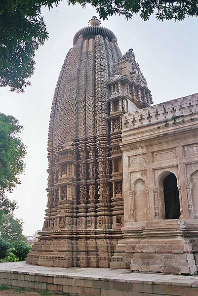 This is a photo of the exterior of the Adinath Jain Temple Sikhara in Khajuraho.
