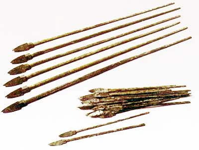 The long, sturdy crossbow bolts are shown lined up next to a pile of smaller Arcuballista bolts.