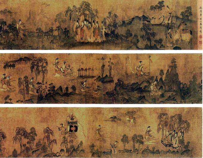 Three horizontal panels, each depicting a different scene.