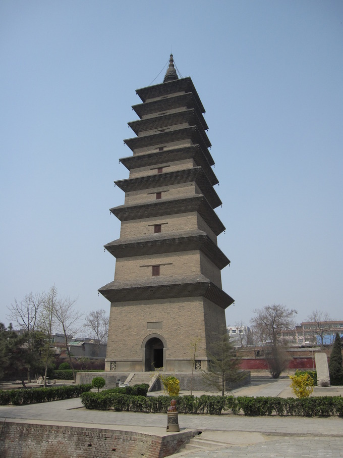 The pagoda has nine tiers of eaves and a crowning spire.