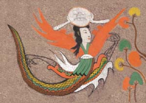 Painting depicts a woman with a snake's body holding a circular object on her head.