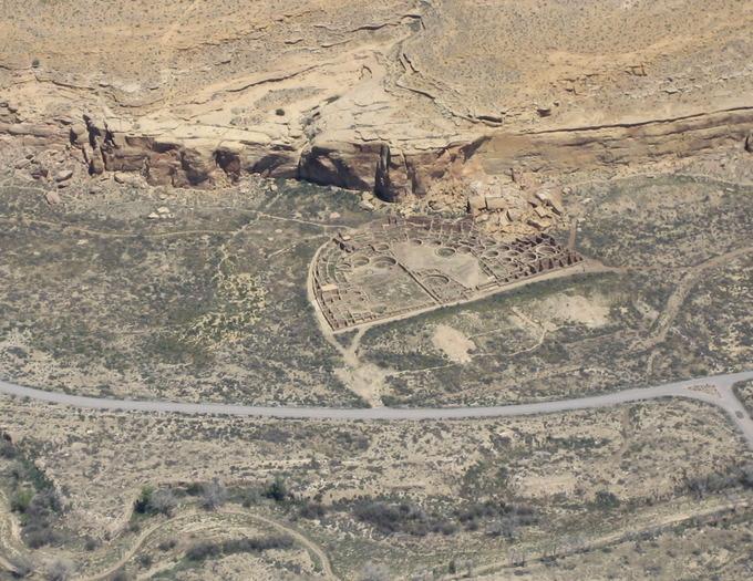 Aerial view of Pueblo Bonito.