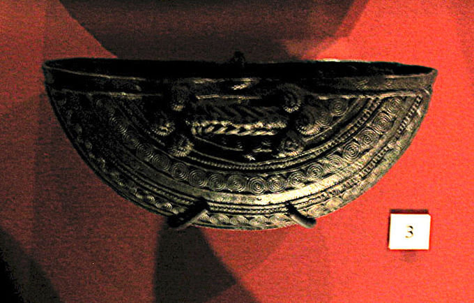 A photo of the elaborately designed vessel.