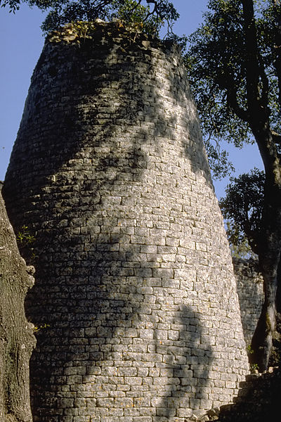 Exterior view of the stone tower.
