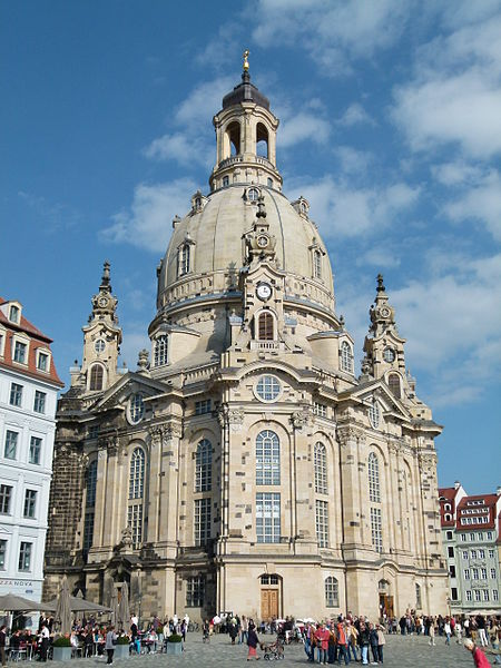 Exterior of the Dresden Frauenkirche, showcasing the elaborate Baroque style and signature dome.