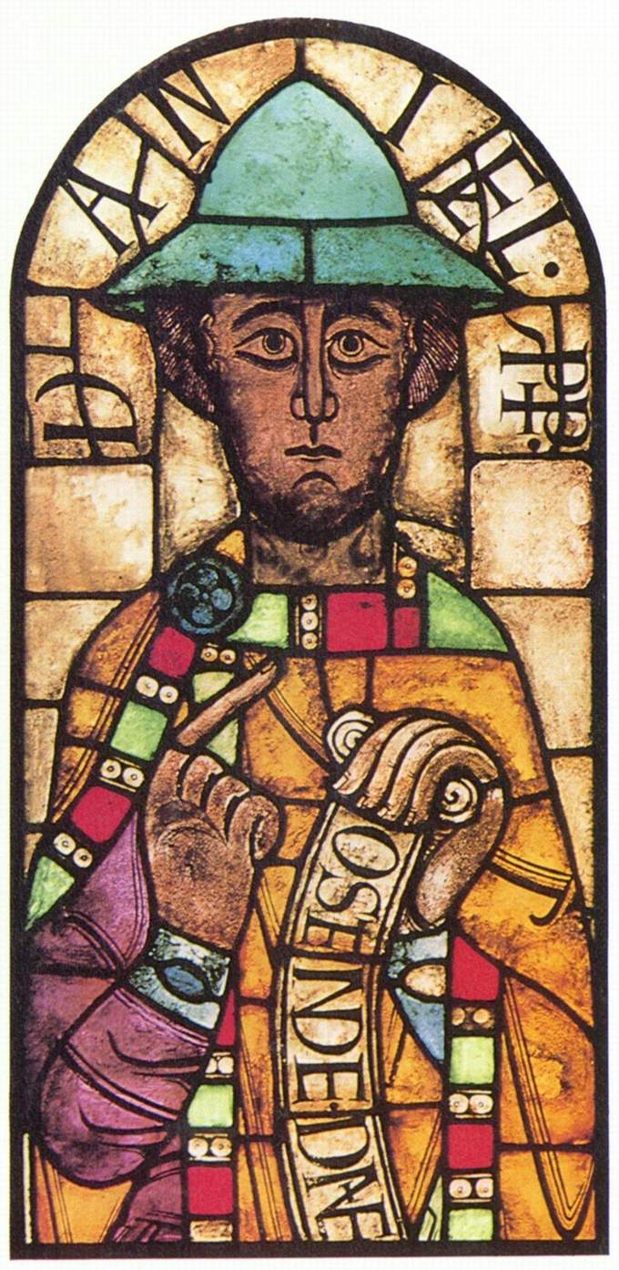 Depiction of the Prophet Daniel is colorful, stiff, and formalized.