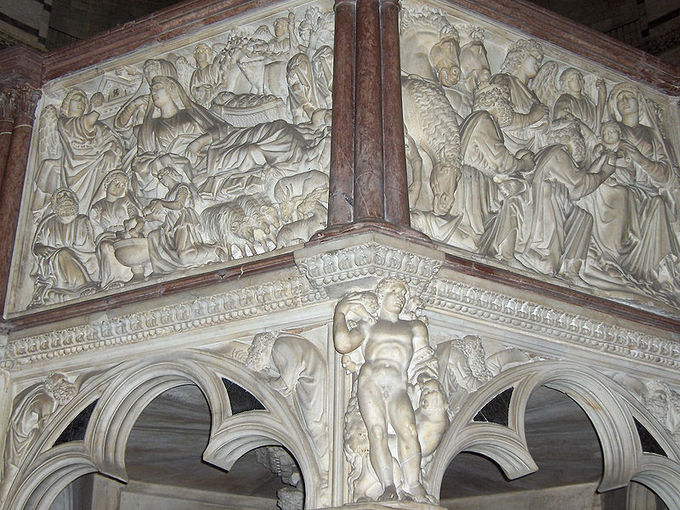Pulpit Detail The Annunciation To Shepherds And Adoration Of Magi Trefoil Arches Supporting Show French Gothic Influence