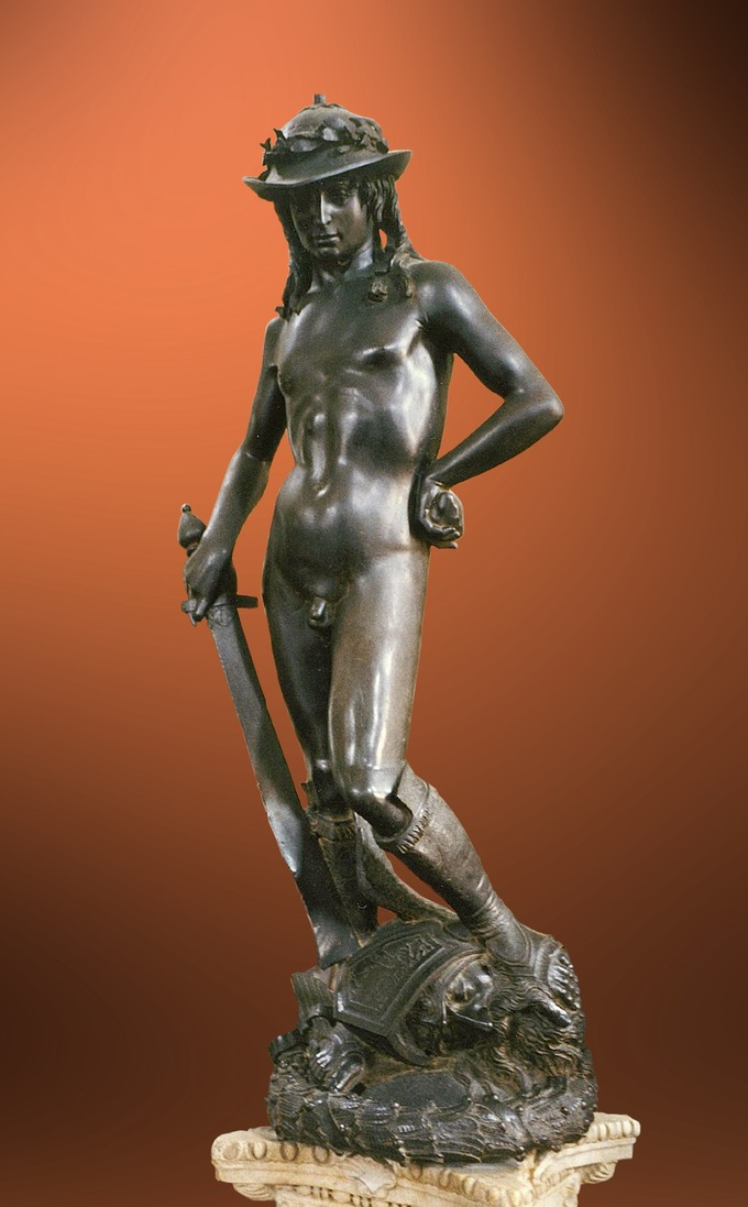 The bronze statue depicts David with an enigmatic smile, posed with his foot on Goliath's severed head just after defeating the giant. The youth is completely naked, apart from a laurel-topped hat and boots, bearing the sword of Goliath.
